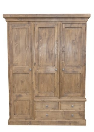 Solid Wood Interiors > Rustic Pine Triple Wardrobe With 3 Drawers Throughout Famous Pine Single Wardrobes (View 14 of 15)