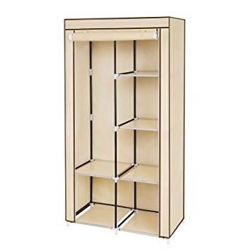 Songmics Double Canvas Wardrobe With 2 Hanging Rail Clothes Within Most Popular Double Canvas Wardrobes Rail Clothes Storage Cupboard (View 12 of 15)