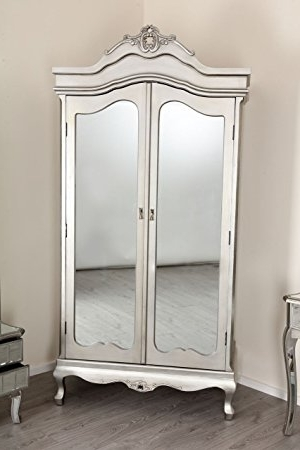 Sophia Mirrored Glass Double Door Wardrobe Silver French Amoire In Newest Sophia Wardrobes (View 10 of 15)