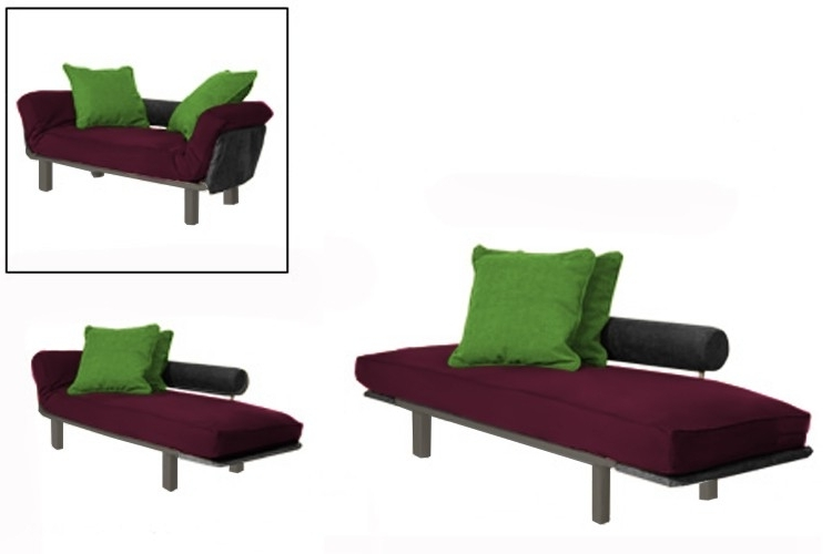 Spacely Daybed Chaise Lounger Futon Frame Burgundy Set (View 12 of 15)