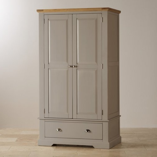 St Ives Grey Painted Triple Wardrobe In Natural Oak Intended For Newest Painted Triple Wardrobes (View 7 of 15)