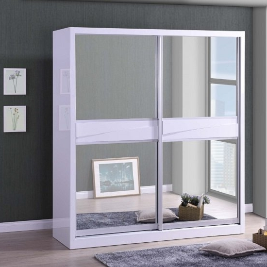 Stirling Sliding Wardrobe In White Gloss With 2 Mirror Intended For Most Recently Released White Gloss Mirrored Wardrobes (View 8 of 15)