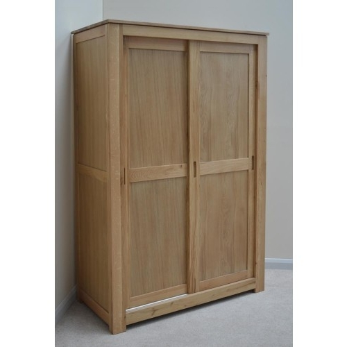 Stratton Sliding Door Double Oak Wardrobe With Preferred Oak Wardrobes With Drawers And Shelves (View 14 of 15)
