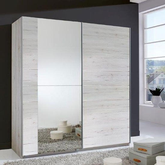 Stripe 2 Door Sliding Wardrobe In White Oak With Mirrored Door Intended For Best And Newest Oak And White Wardrobes (View 11 of 15)