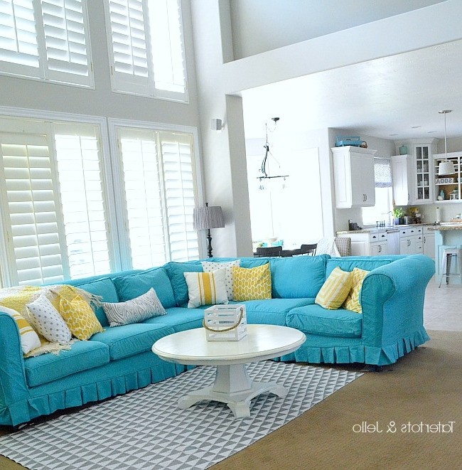 Switching Things Up For Summer With A Turquoise Slipcover Intended For Most Popular Turquoise Sofas (View 7 of 10)