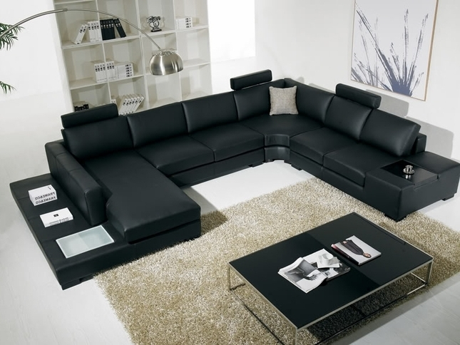 T 35 Large U Shaped Modern Leather Sectional Sofa With Lights Pertaining To Widely Used U Shaped Sectional Sofas (View 9 of 10)
