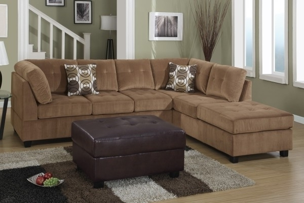 Tan Sectionals With Chaise Pertaining To Famous Microfiber Chaise Sofa Popular Tan Microfiber Sectional Sofa With (View 9 of 15)