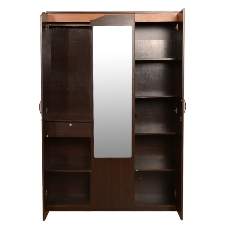 Three Door Wardrobes With Mirror In Trendy Buy Swirl 3 Door Wardrobe In Denver Oak Finish Online In India (View 11 of 15)
