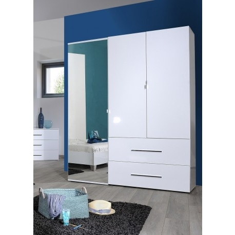 Three Door Wardrobes With Mirror Pertaining To Well Known First Ii White Gloss 3 Door Wardrobe With Mirror – Wardrobes (View 12 of 15)