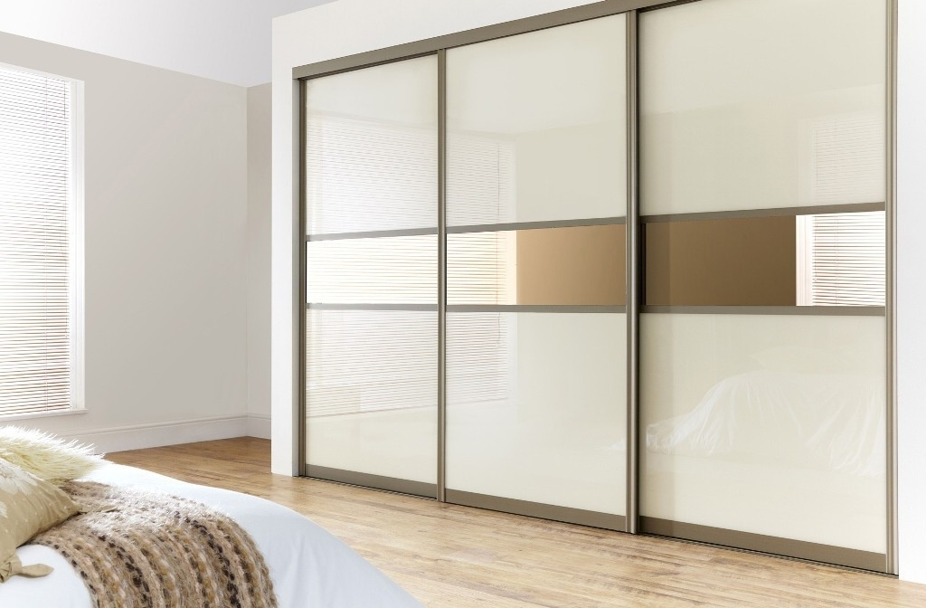 Trendy 3 Door Sliding Mirror Wardrobe In Cream Glass With 3 Doors Wardrobes With Mirror (View 13 of 15)