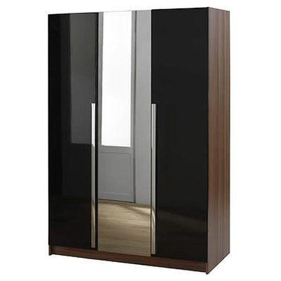 Trendy 3 Door Wardrobe With Mirror – Sleek Black – Las Vegas Modern Within 3 Door Mirrored Wardrobes (View 13 of 15)