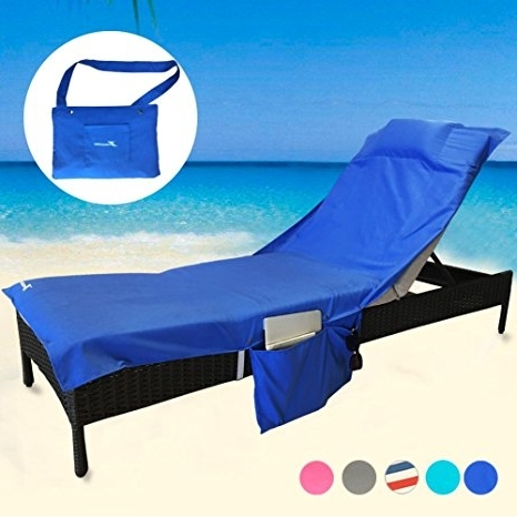 Trendy Amazon : Beach Chair Cover, Chaise Lounge Chair Towel For Pool Pertaining To Hotel Chaise Lounge Chairs (View 5 of 15)