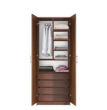 Trendy Amazon: Bella Wardrobe Closet – 4 Interior Drawers, Double Regarding Double Wardrobes With Drawers And Shelves (View 15 of 15)