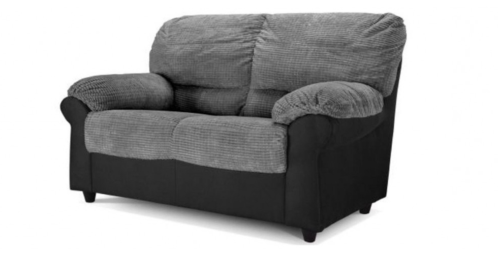 Trendy Carrick 2 Seater Black Grey Fabric Sofa With Black 2 Seater Sofas (View 10 of 10)