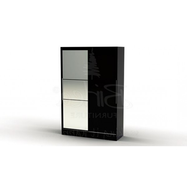 Trendy Cheap Birlea Lynx Black Gloss 2 Door Sliding Mirrored Wardrobe For Throughout Cheap Black Wardrobes (View 12 of 15)