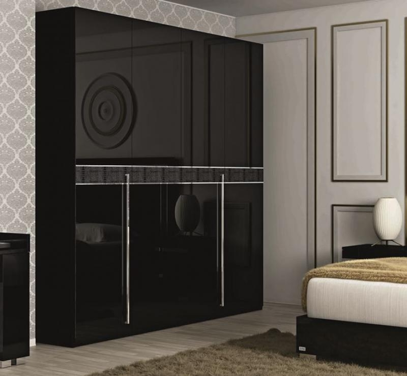 Trendy Cheap Black Gloss Wardrobes Pertaining To Fame 4 Door Wardrobe In Black Gloss With Optional Crocodile Print (View 14 of 15)