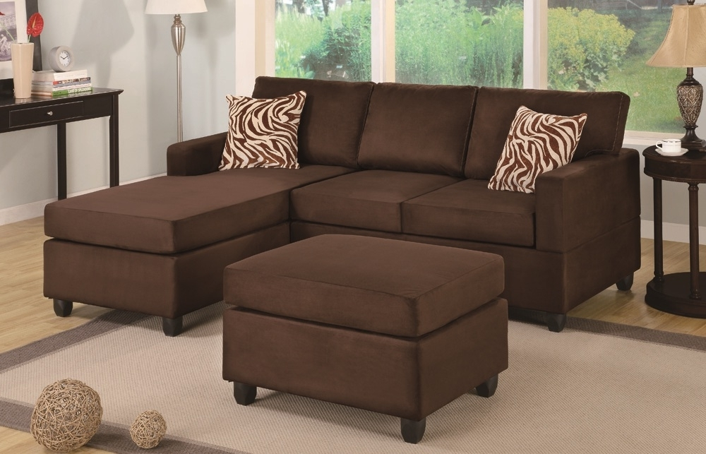 Trendy Chocolate Sectional & Ottoman – Paradise Furniture With Regard To Sectionals With Ottoman (View 9 of 10)