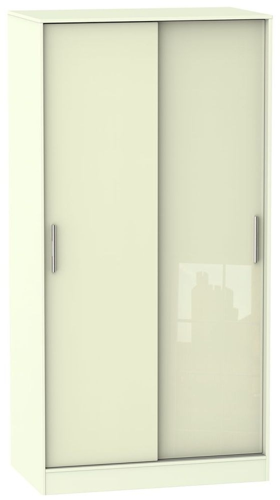 Trendy Cream Gloss Wardrobes With Buy Knightsbridge High Gloss Cream Sliding Wardrobe – Wide Online (View 13 of 15)