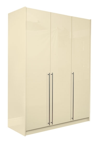 Trendy Cream Triple Wardrobes Intended For Space2fit Cream Gloss Triple Wardrobe Buy In Leigh (View 9 of 15)