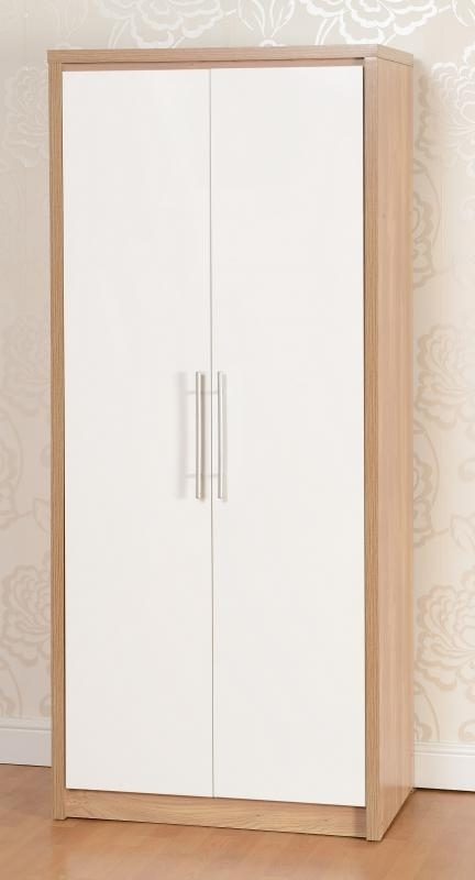 Trendy Credit Crunch Carpets Nottingham: – Seville 2 Door Wardrobe Light Throughout Oak And White Wardrobes (View 12 of 15)