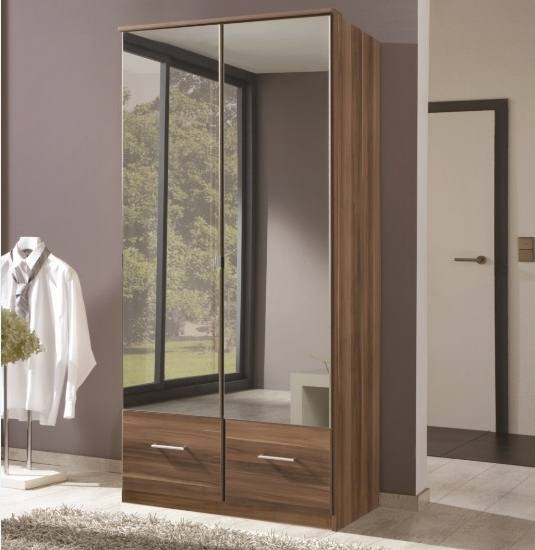 Trendy Double Mirrored Wardrobes With Regard To Imagine Double Walnut Mirror Wardrobe – Forever Furnishings (View 15 of 15)