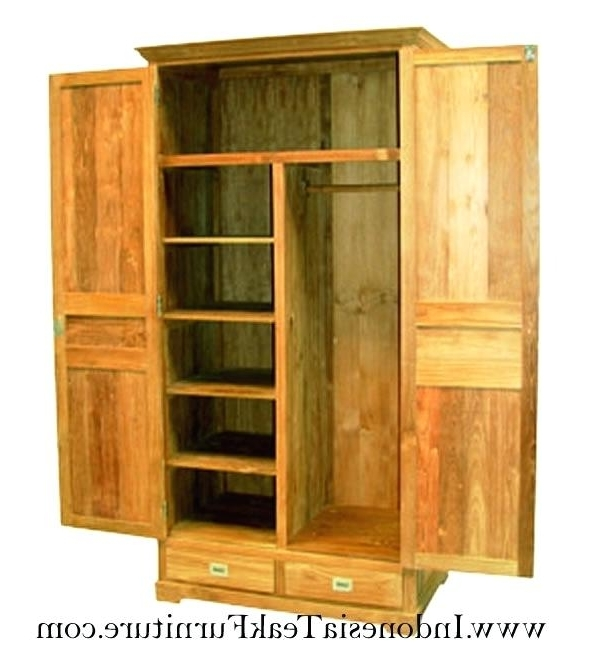 Trendy Double Pine Wardrobes Regarding Armoire ~ Armoire Solid Wood Antique French Double Wardrobe Pine (View 15 of 15)