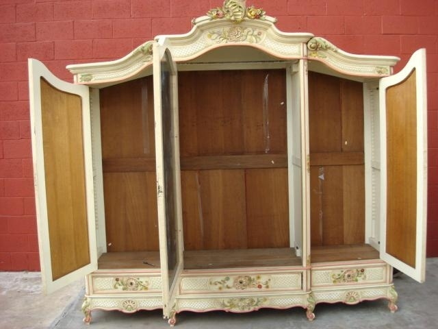 Trendy French Shabby Chic Wardrobes Intended For Solid Oak Jewelry Armoire Shabby Chic Large Vintage Painted (View 14 of 15)