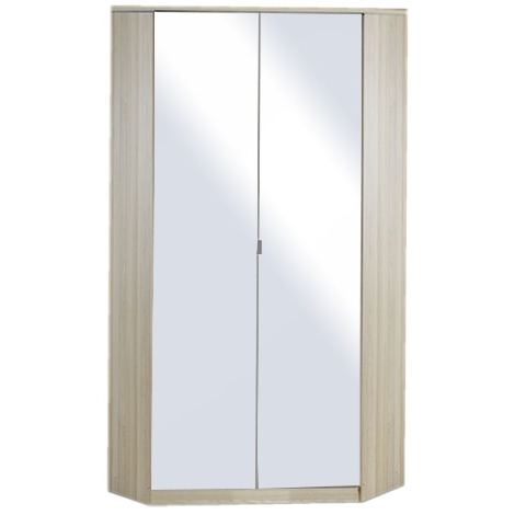 Trendy Gamma 2 Door Mirrored Corner Wardrobe – Oak – Next Day Delivery Within Mirrored Corner Wardrobes (View 9 of 15)