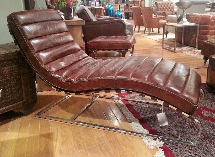 Trendy Governor Vintage Cigar Leather Chaise Lounge Chair : , High End Direct Inside Leather Chaises (View 14 of 15)