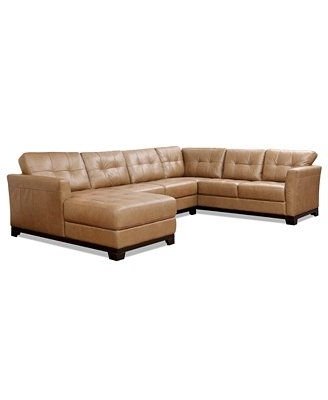 Trendy Martino Leather 3 Piece Chaise Sectional Sofa, But In Brown In Macys Leather Sectional Sofas (View 8 of 10)