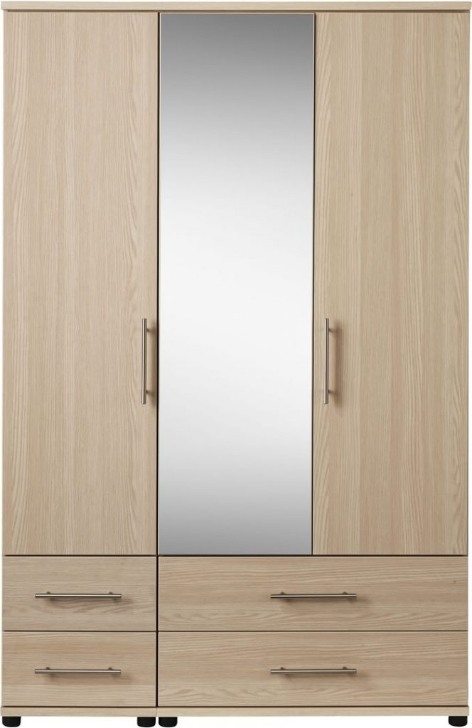 Trendy Mirror Design Ideas: Three Door Wardrobe With Mirror On Tiger With Regard To Wardrobes With Mirror And Drawers (View 10 of 15)
