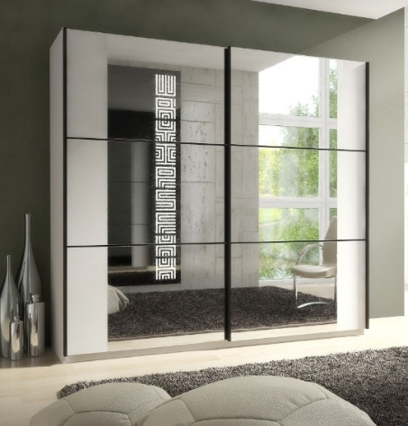 Trendy Mirrored Wardrobes With Memphis Large Sliding Mirrored Wardrobe Matt White P8Ssokk (View 14 of 15)
