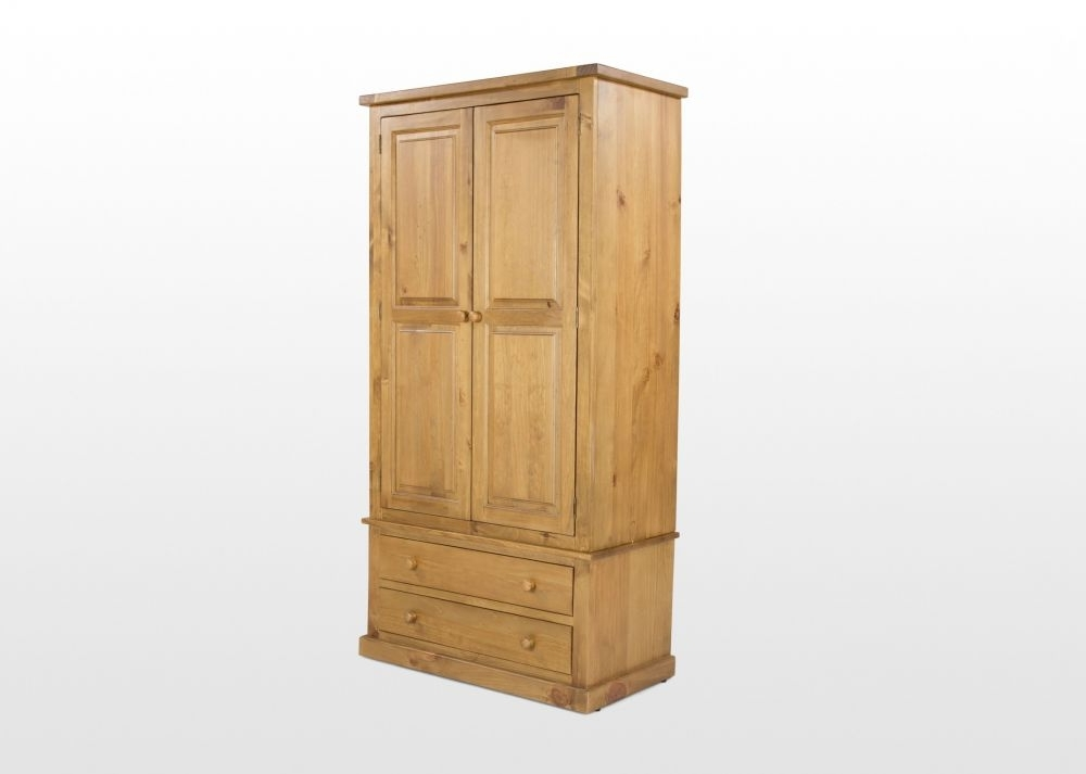 Trendy Natural Pine Wardrobes Intended For Two Door Two Drawer Natural Pine Wardrobe – Michigan – Ez Living (View 12 of 15)