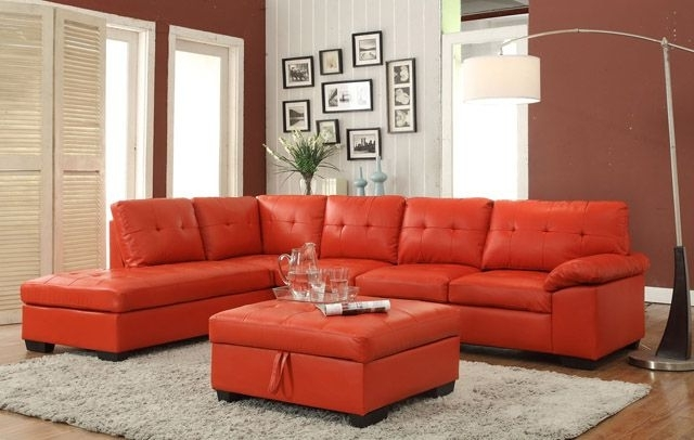 Trendy Red Faux Leather Sectionals Throughout 2 Pc Emily Ii Collection Red Faux Leather Sectional Sofa Set With (View 10 of 10)