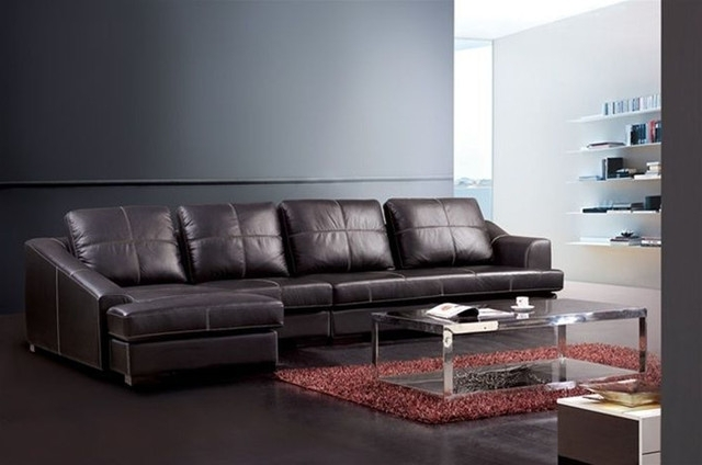 Trendy Sectional Sofa Design: Simple Genuine Leather Sectional Sofa Real Within Genuine Leather Sectionals With Chaise (View 13 of 15)