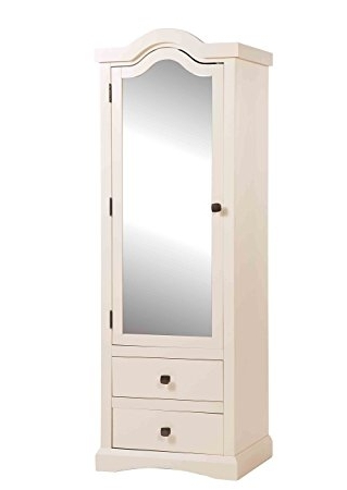 Trendy Single White Wardrobes With Mirror Pertaining To Quebec Old English White Shabby Chic 1 Door Combination Wardrobe (View 6 of 15)