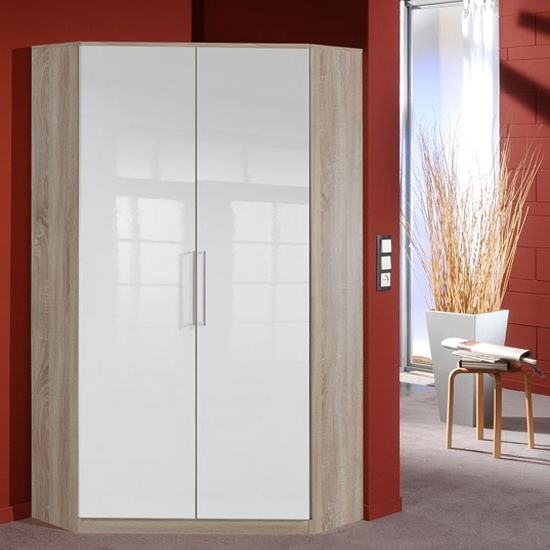 Trendy White Gloss Corner Wardrobes Regarding Gastineau Corner Wardrobe In Oak With Gloss White Front  (View 8 of 15)