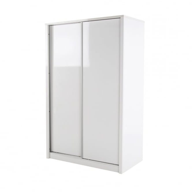 Trendy White High Gloss Sliding Wardrobes Inside Lpd Furniture Novello High Gloss White 2 Door Sliding Wardrobe (View 10 of 15)