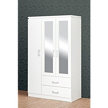 Trendy White Three Door Wardrobes Regarding Seconique Charles 3 Door 2 Drawer Mirrored Wardrobe In White (View 7 of 15)