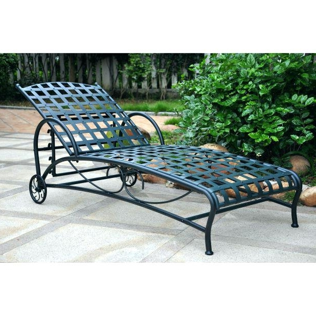 Trendy Wrought Iron Outdoor Chaise Lounge Chairs Throughout Vintage Wrought Iron Chaise Lounge Wrought Iron Position Single (View 8 of 15)