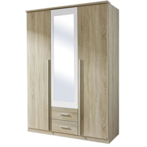 Triple Mirrored Wardrobes Inside Latest Krefeld Sonoma Oak Triple Mirrored Wardrobe – Next Day Delivery (View 12 of 15)