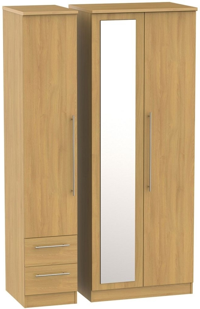 Triple Mirrored Wardrobes Regarding Best And Newest Buy Sherwood Oak Triple Wardrobe – Tall 2 Drawer And Mirror Online (View 9 of 15)