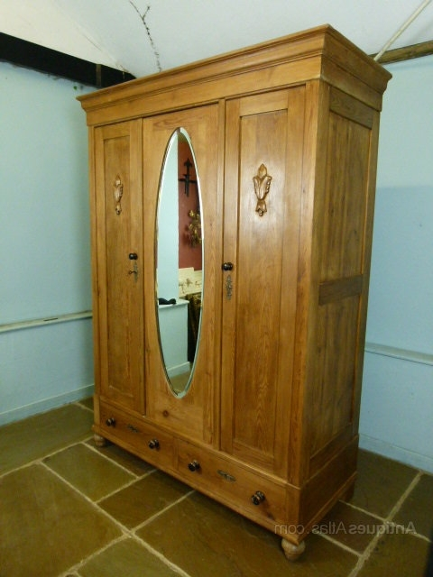 Triple Mirrored Wardrobes Within 2018 Victorian Pine Triple Mirrored Wardrobe – Antiques Atlas (View 15 of 15)
