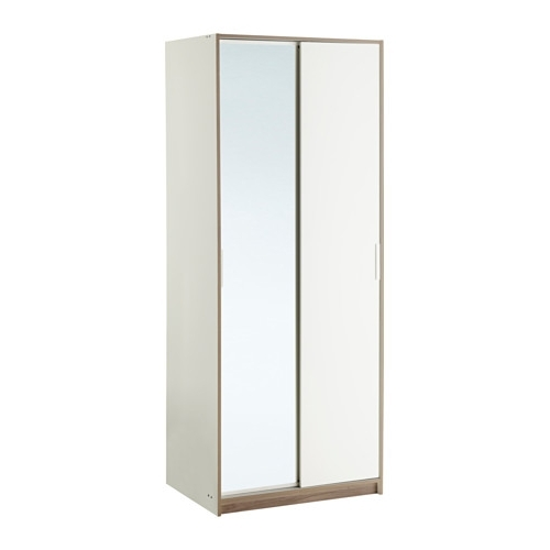 Trysil Wardrobe White/mirror Glass 79X61X202 Cm – Ikea Throughout Trendy Single White Wardrobes With Mirror (View 3 of 15)