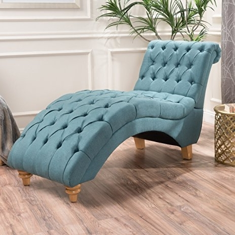 Tufted Chaise Lounge Chairs With Regard To Popular Amazon: Bellanca Fabric Tufted Chaise Lounge Chair (dark Teal (View 4 of 15)
