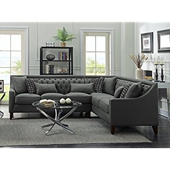 Tufted Sectional Sofas Intended For Current Amazon: Iconic Home Fsa2677 An Aberdeen Chic Home Linen Tufted (View 9 of 10)