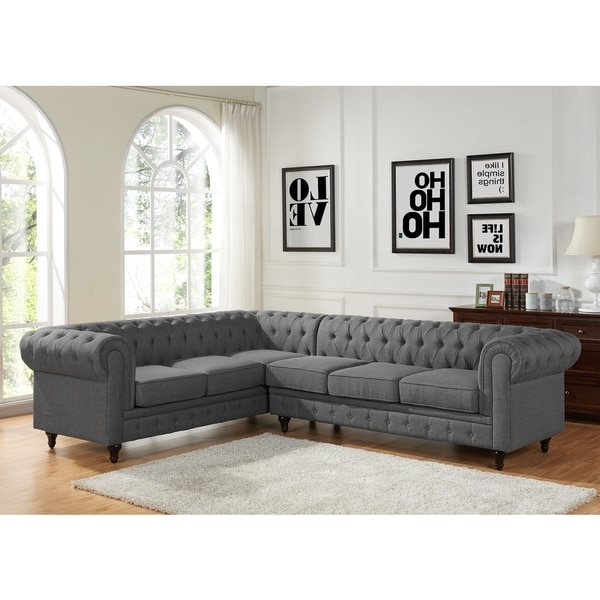 Tufted Sectional Sofas With Chaise Intended For Widely Used Sophia Modern Style Tufted Rolled Arm Left Facing Chaise Sectional (View 8 of 10)