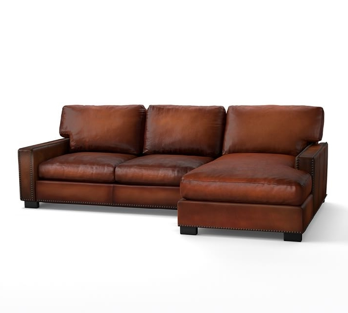 Turner Square Arm Leather Sofa With Chaise Sectional With Regarding Most Recently Released Leather Chaise Sofas (View 2 of 15)