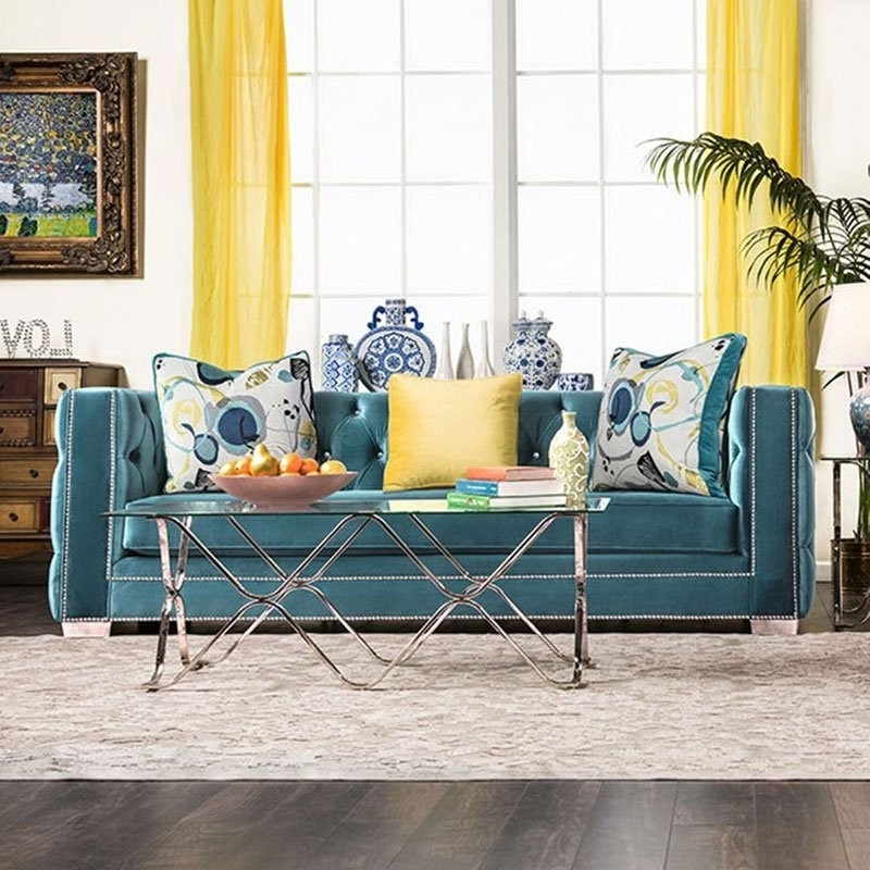 Turquoise Sofas For 2017 Salvatore Sofa (Turquoise) – Sofas – Living Room Furniture (View 10 of 10)