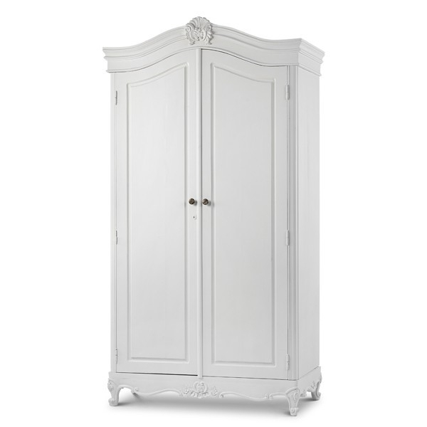 Two Door White Wardrobes Intended For Well Known Sophia French Plain Armoire With Two Doors (View 13 of 15)